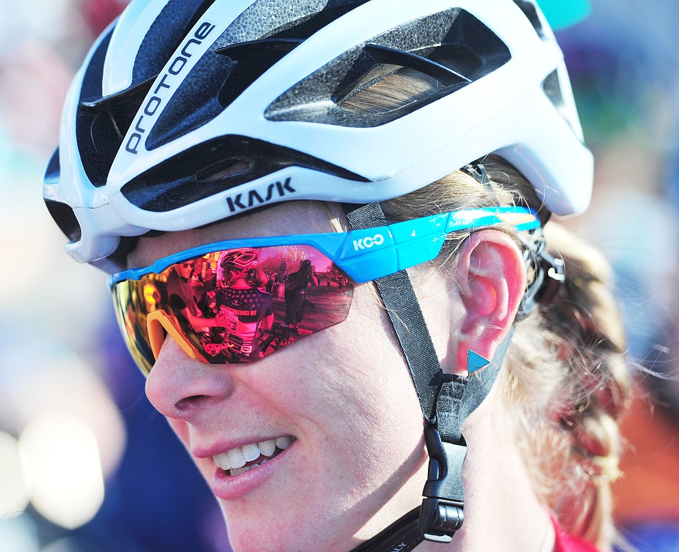 Chloe Woodruff was relaxed on the start line of the Whiskey Off Road Fat Tire Crit through the streets of downtown Prescott Friday, April 26.  (Les Stukenberg/Courier)