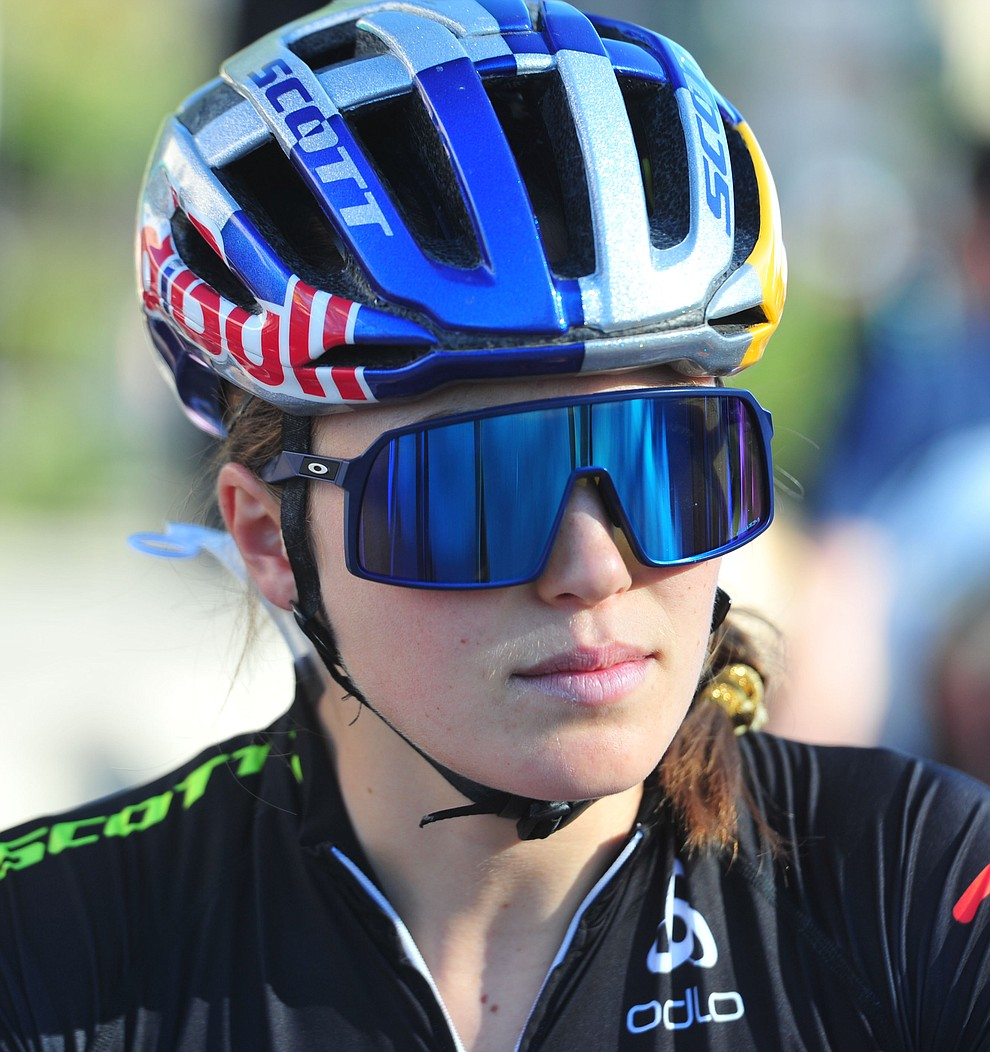 World Champion Kate Courtney looks ready to race on the start line during the Whiskey Off Road Fat Tire Crit through the streets of downtown Prescott Friday, April 26.  (Les Stukenberg/Courier)