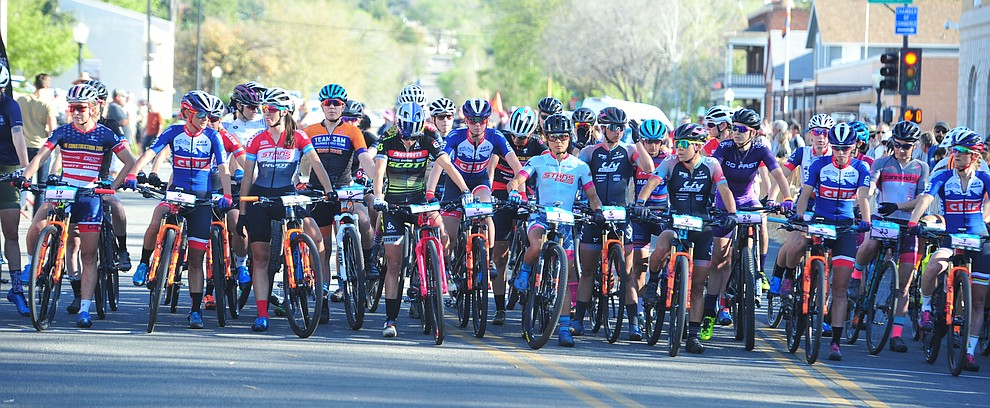 The ladies field had 37 racers toe the line during the Whiskey Off Road Fat Tire Crit through the streets of downtown Prescott Friday, April 26.  (Les Stukenberg/Courier)