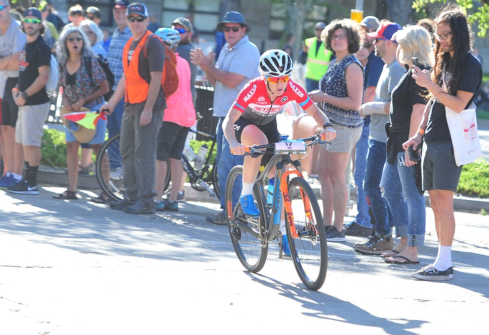 Chloe Woodruff leads the first lap during the Whiskey Off Road Fat Tire Crit through the streets of downtown Prescott Friday, April 26.  (Les Stukenberg/Courier)