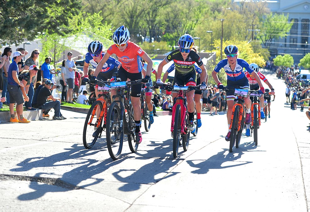A strong lead group broke the field apart during the Whiskey Off Road Fat Tire Crit through the streets of downtown Prescott Friday, April 26.  (Les Stukenberg/Courier)