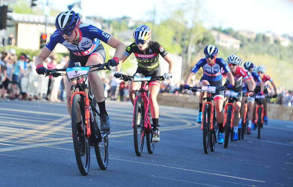 Haley Batten leads the race going into the final lap during the Whiskey Off Road Fat Tire Crit through the streets of downtown Prescott Friday, April 26.  (Les Stukenberg/Courier)