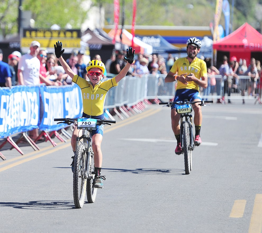 Damiano Rivera de Rosales, 9 years old won the 15 mile race during the opening day of the Whiskey Off Road in downtown Prescott Friday, April 26.  (Les Stukenberg/Courier)
