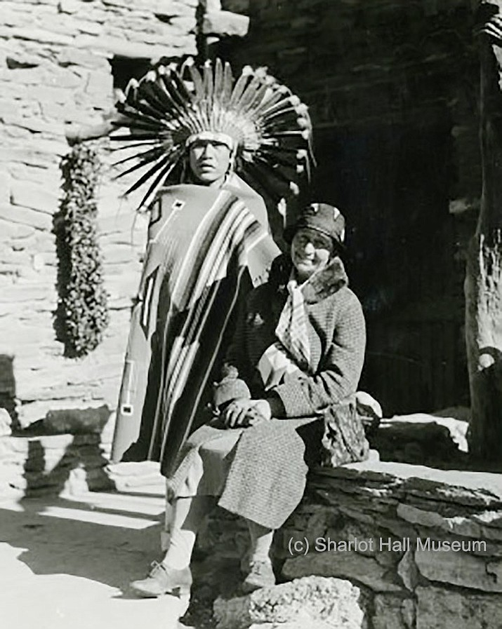 Kate Cory c. 1930s-1950s with Hopi man in ceremonial dress. (Courtesy of the Sharlot Hall Museum Library & Archives. Call # 1977.0269.0003)