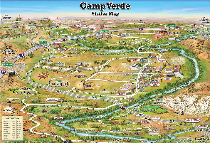 The all-Camp Verde visitor map has several updates from last year's map, Choe said, which include a historic building walking tour map, the mural at Thanks a Latte, and feature crops for local farms. This year's map also replaces the Verde Valley map with a Camp Verde trails map. Courtesy Town of Camp Verde