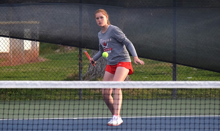 Mingus sophomore Anna Schreiber tracks a forehand ball. Schreiber played in the No. 2 singles slot for the Marauders this year. VVN/James Kelley