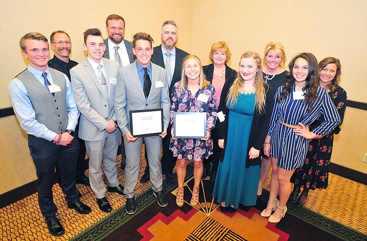 All the finalists gather for a photo following the Prescott Area Leadership 2019 Community Leaders of the Year banquet and awards ceremony Wednesday, April 10, at the Prescott Resort.  (Les Stukenberg/Courier)