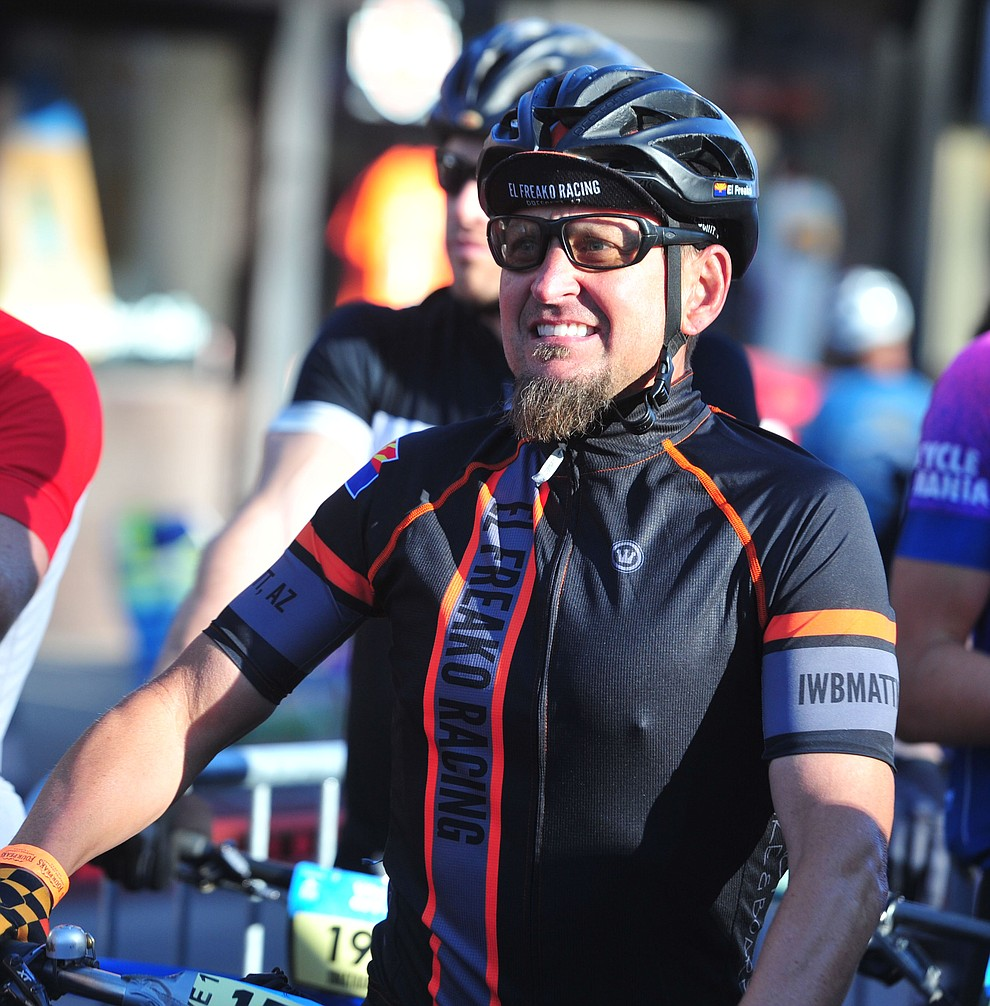 Prescott resident Jeff Hemperly waits on the start line as the amateurs race the 30 and 50 mile courses of the Whiskey Off Road in Prescott Saturday, April 27.  (Les Stukenberg/Courier)