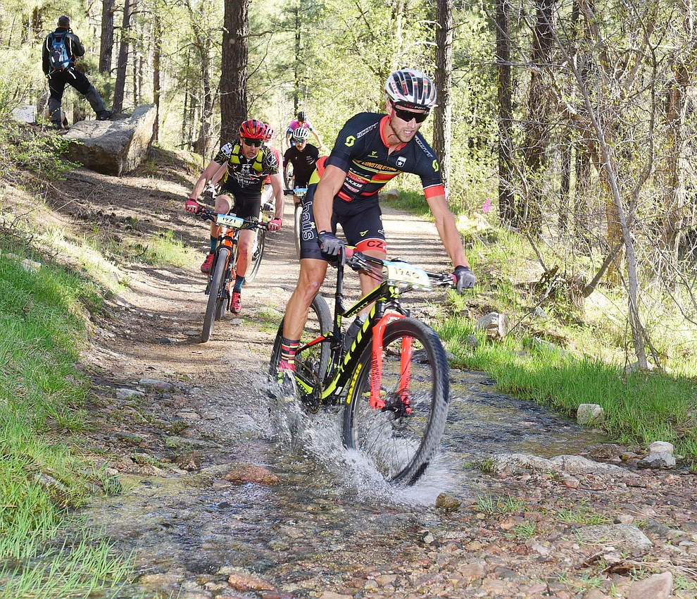 Jared Becker, mens open 50 mile winner starts on the single track as the amateurs race the 30 and 50 mile courses of the Whiskey Off Road in Prescott Saturday, April 27.  (Les Stukenberg/Courier)