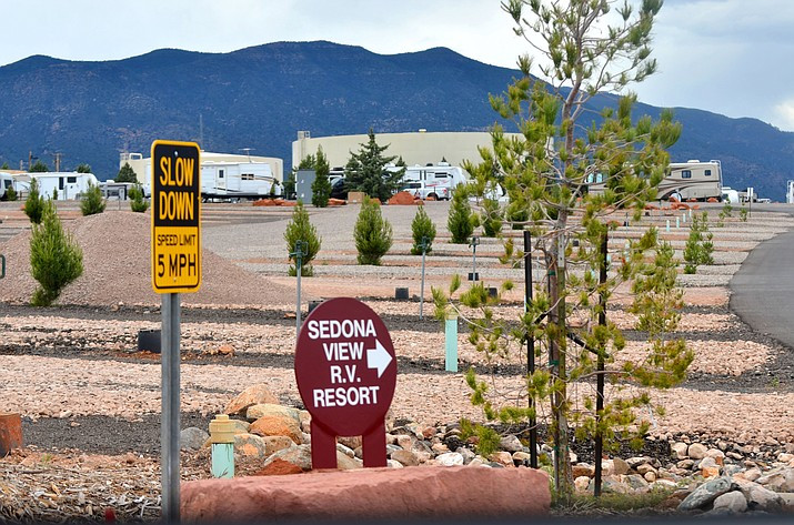 RVs are parked at the Sedona View RV Resort behind Jones Ford. VVN/Vyto Starinskas
