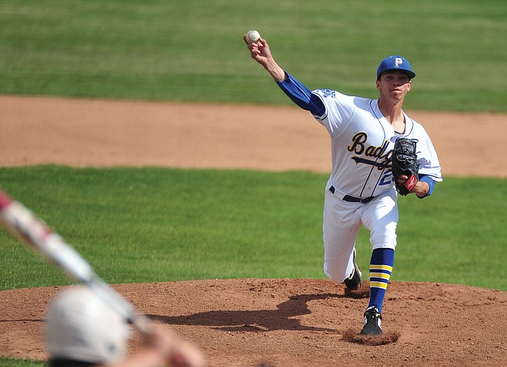Prescott's Jake Schulz, shown delivering a pitch against Lee Williams on Thursday, April 4 in Prescott, finished his career with a strong effort in a 4-3 playoff loss to Estrella Foothills on Saturday, April 28, 2019. (Les Stukenberg/Courier, file)