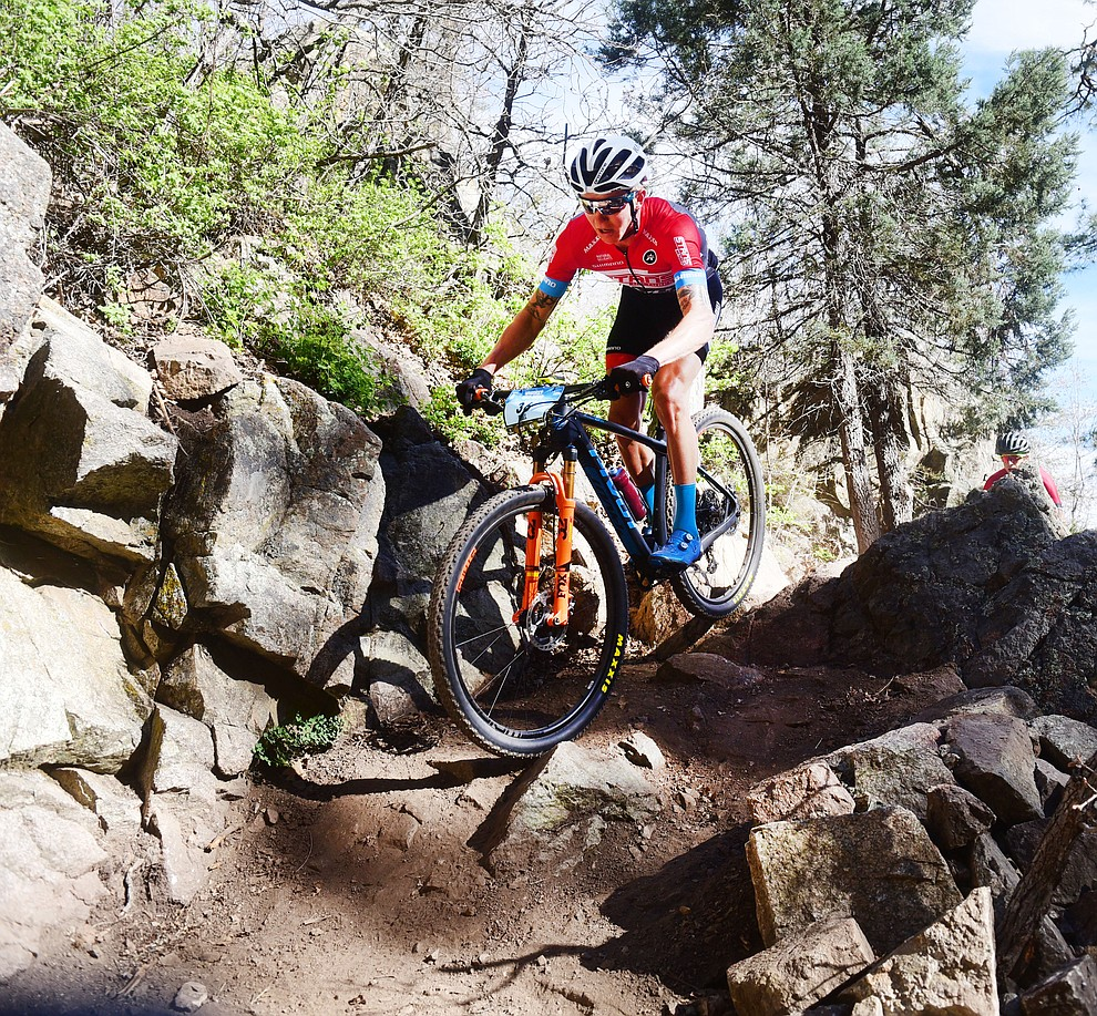 Stans-Pivot rider Keegan Swenson during the Whiskey Off Road Pro 50-mile cross country mountain bike race in Prescott Sunday, April 28.  (Les Stukenberg/Courier)
