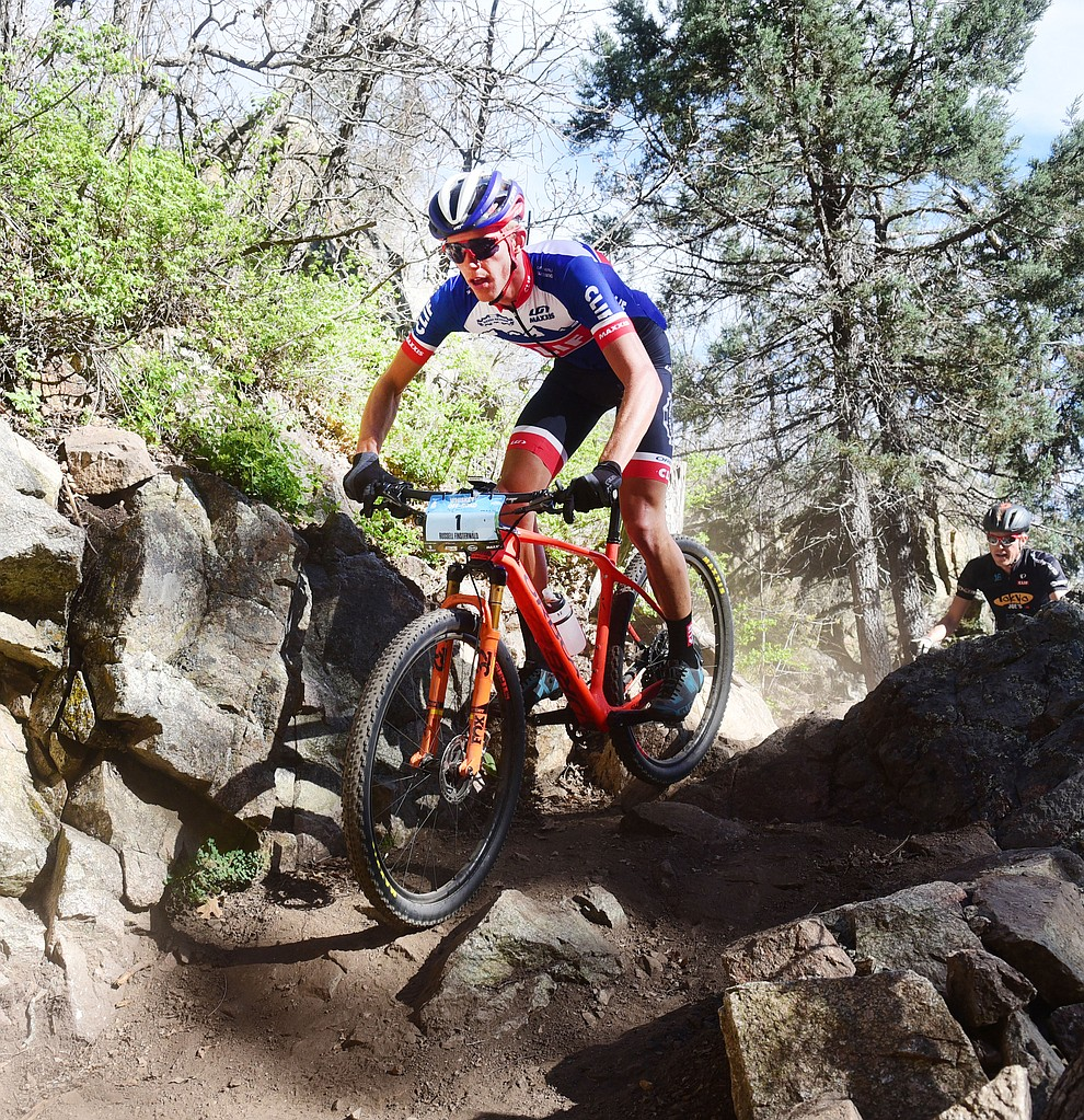Russell Finsterwald during the Whiskey Off Road Pro 50-mile cross country mountain bike race in Prescott Sunday, April 28.  (Les Stukenberg/Courier)