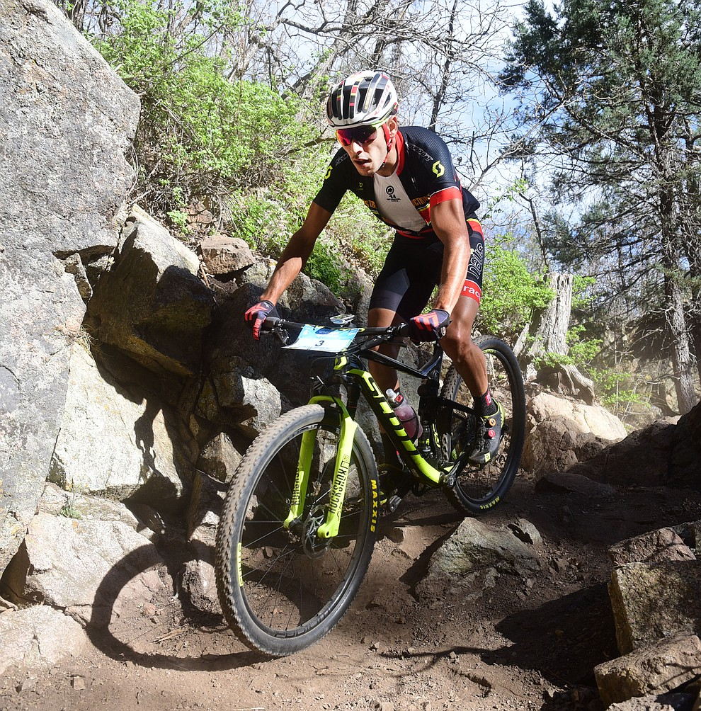 Fernando Riveros during the Whiskey Off Road Pro 50-mile cross country mountain bike race in Prescott Sunday, April 28.  (Les Stukenberg/Courier)