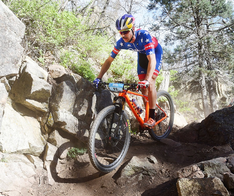 Payson McElveen during the Whiskey Off Road Pro 50-mile cross country mountain bike race in Prescott Sunday, April 28.  (Les Stukenberg/Courier)