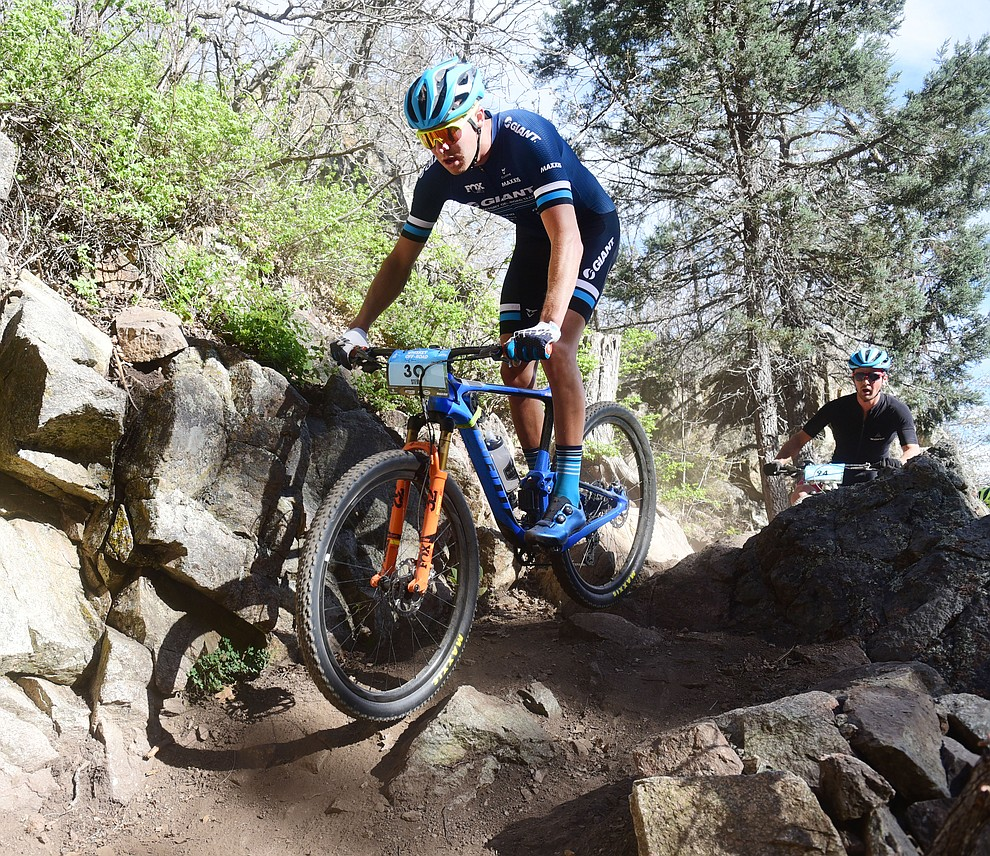 Stephan Davoust during the Whiskey Off Road Pro 50-mile cross country mountain bike race in Prescott Sunday, April 28.  (Les Stukenberg/Courier)