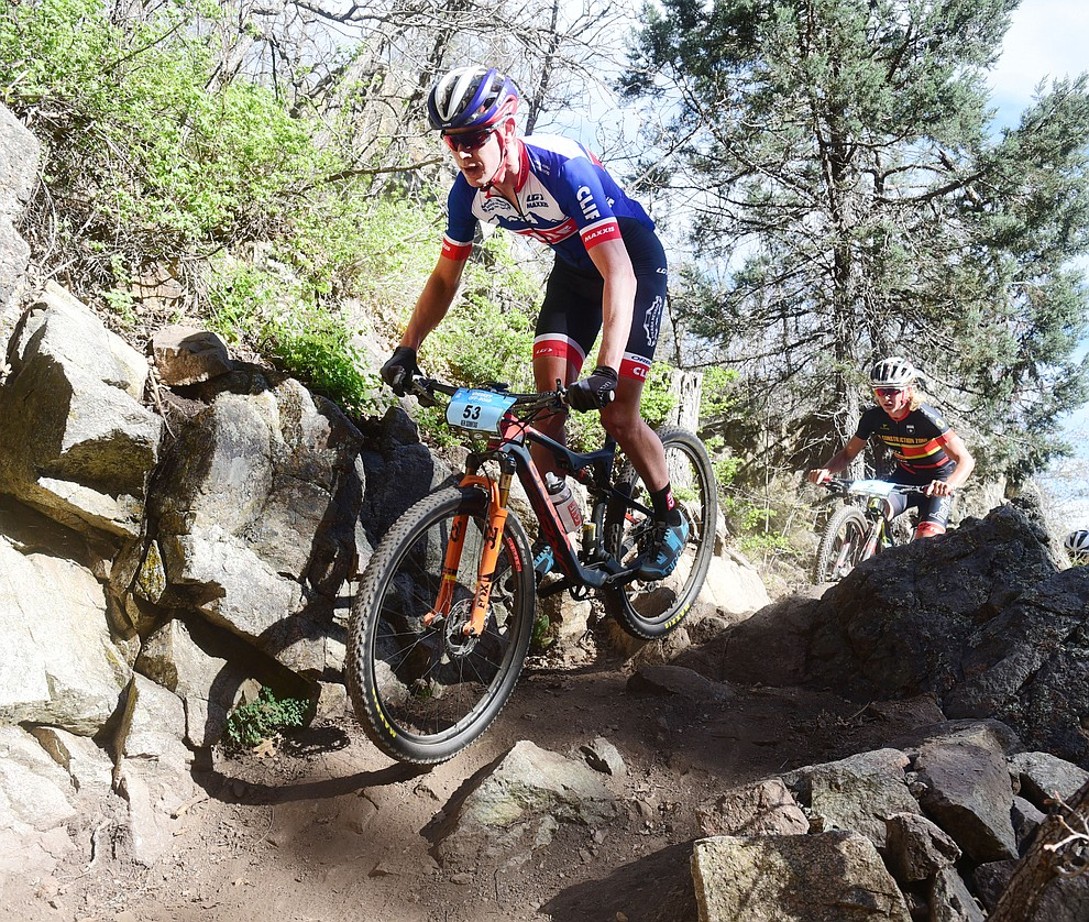 Clif Bar's Ben Sonntag during the Whiskey Off Road Pro 50-mile cross country mountain bike race in Prescott Sunday, April 28.  (Les Stukenberg/Courier)