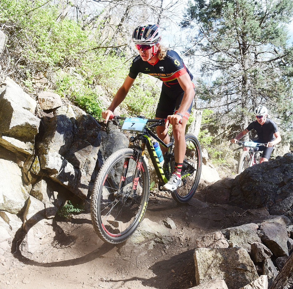 Construction Zone's Nash Dory during the Whiskey Off Road Pro 50-mile cross country mountain bike race in Prescott Sunday, April 28.  (Les Stukenberg/Courier)
