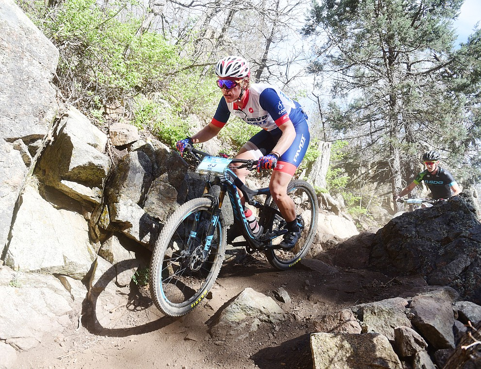 Spencer Ciammitti during the Whiskey Off Road Pro 50-mile cross country mountain bike race in Prescott Sunday, April 28.  (Les Stukenberg/Courier)