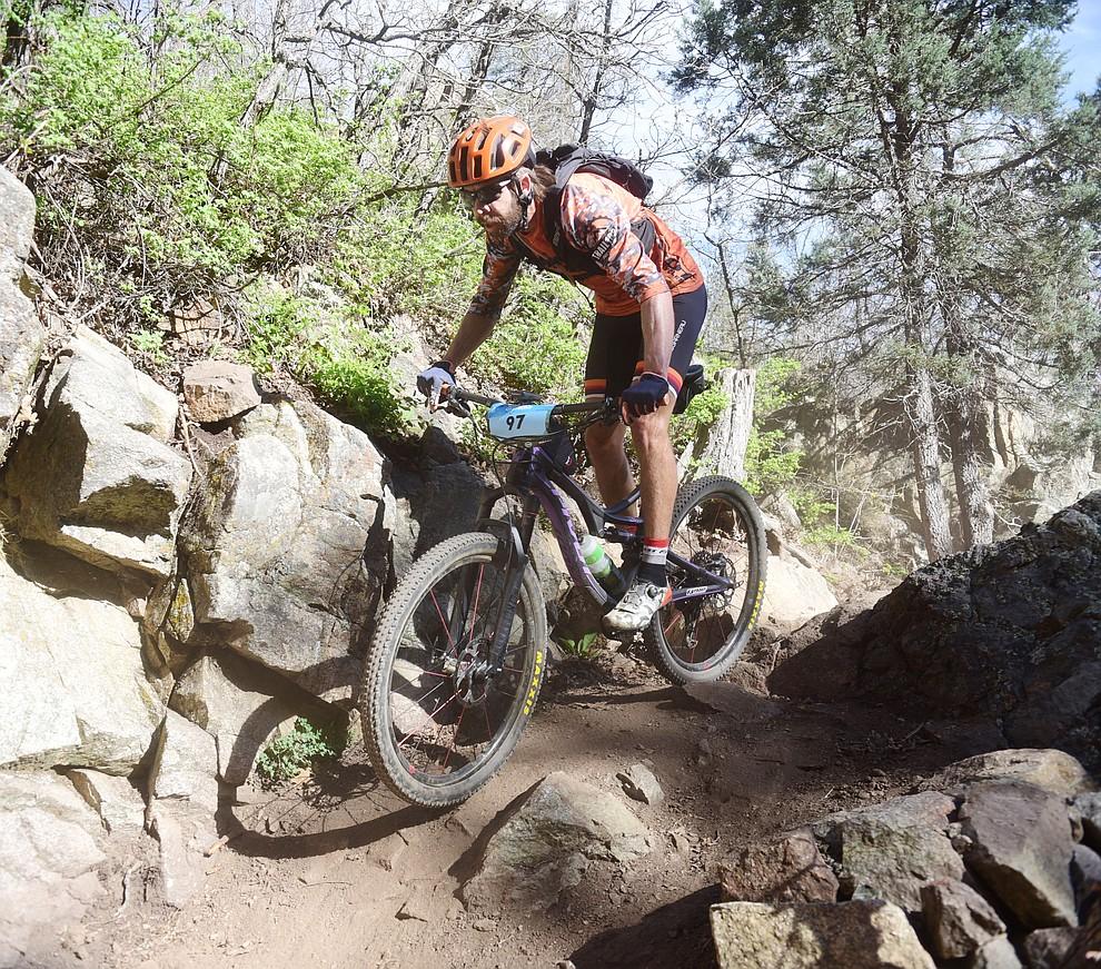 Prescott's Kurt Refsnider during the Whiskey Off Road Pro 50-mile cross country mountain bike race in Prescott Sunday, April 28.  (Les Stukenberg/Courier)