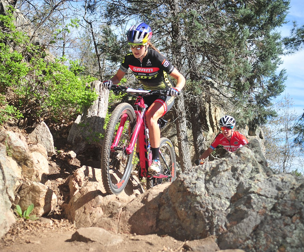 World Champion and Scott-SRAM MTB Racing's Kate Courtney during the Whiskey Off Road Pro 50-mile cross country mountain bike race in Prescott Sunday, April 28.  (Les Stukenberg/Courier)