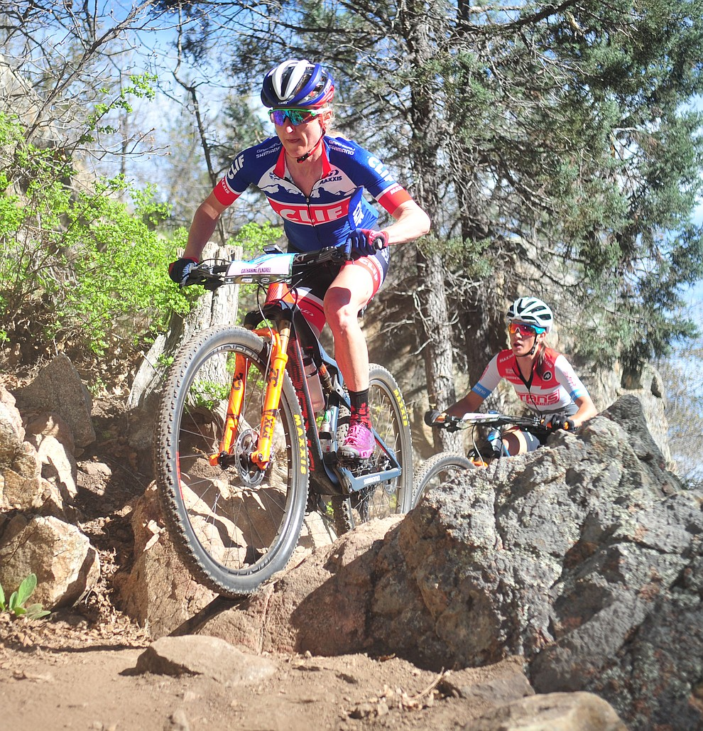 Clif Pro Team's Catherine Pendrel during the Whiskey Off Road Pro 50-mile cross country mountain bike race in Prescott Sunday, April 28.  (Les Stukenberg/Courier)