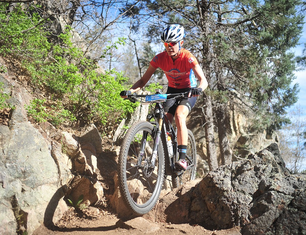 Alexis Skarda during the Whiskey Off Road Pro 50-mile cross country mountain bike race in Prescott Sunday, April 28.  (Les Stukenberg/Courier)