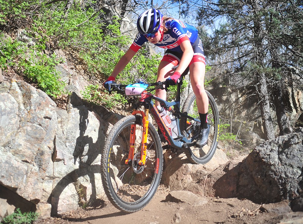 Clif Pro Team's Haley Batten during the Whiskey Off Road Pro 50-mile cross country mountain bike race in Prescott Sunday, April 28.  (Les Stukenberg/Courier)