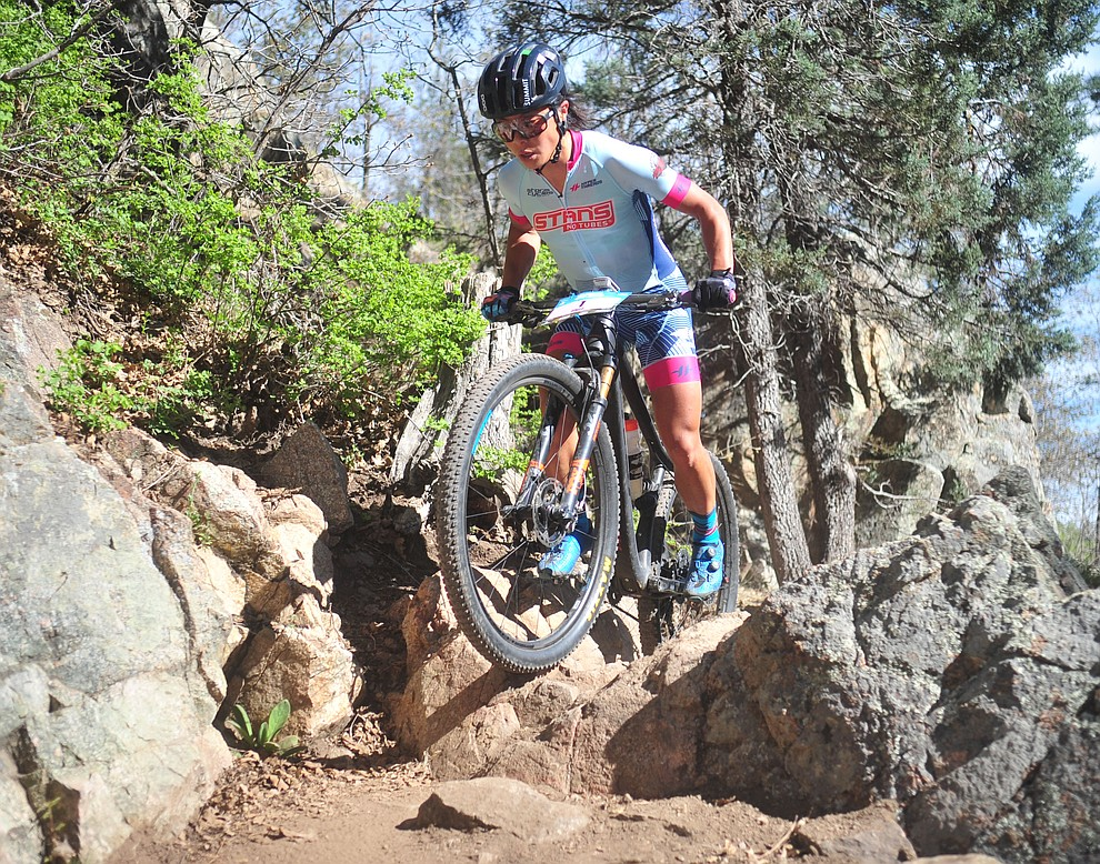 Pivot Stan's Evelyn Dong during the Whiskey Off Road Pro 50-mile cross country mountain bike race in Prescott Sunday, April 28.  (Les Stukenberg/Courier)