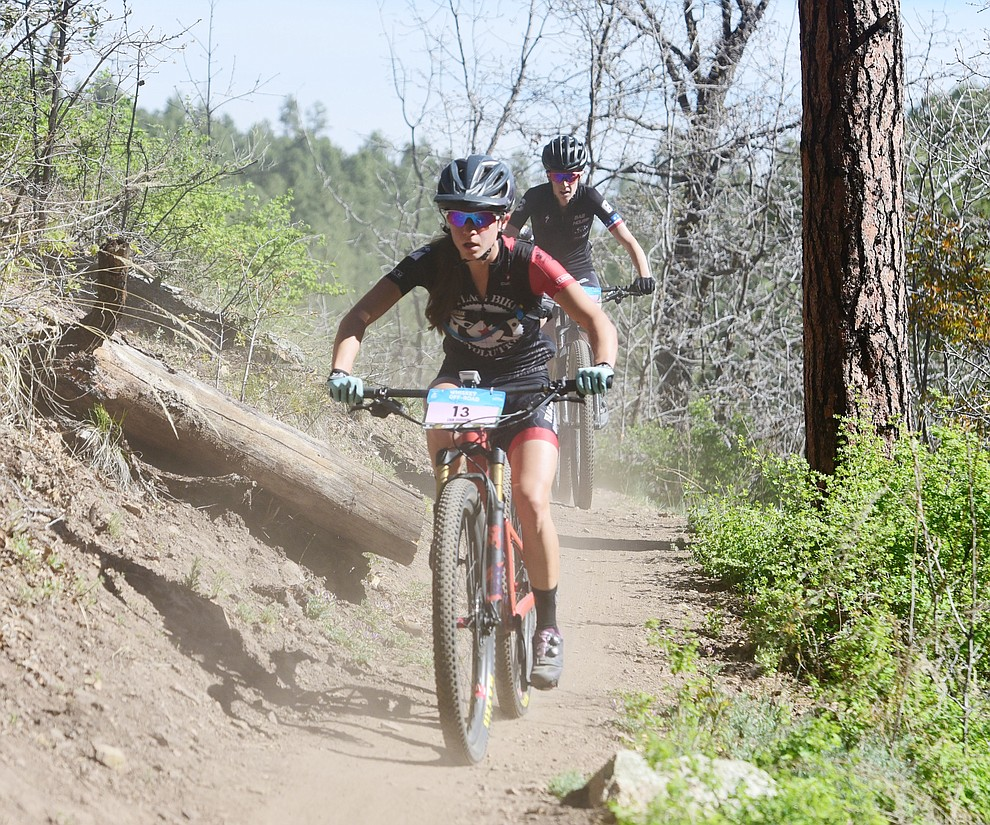 Flagstaf Bicycle Revolution's Erin Osborne during the Whiskey Off Road Pro 50-mile cross country mountain bike race in Prescott Sunday, April 28.  (Les Stukenberg/Courier)