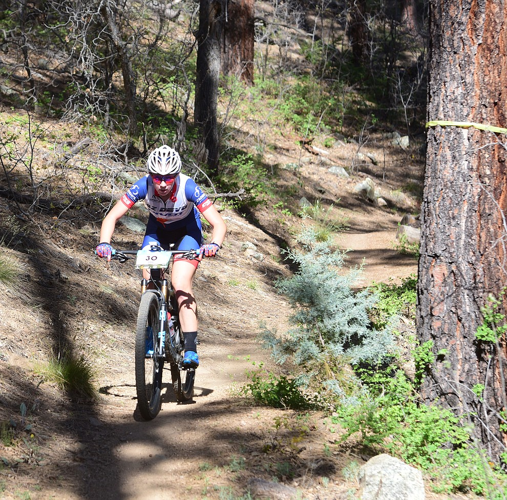 AZ Devo's Cecilia Depue during the Whiskey Off Road Pro 50-mile cross country mountain bike race in Prescott Sunday, April 28.  (Les Stukenberg/Courier)
