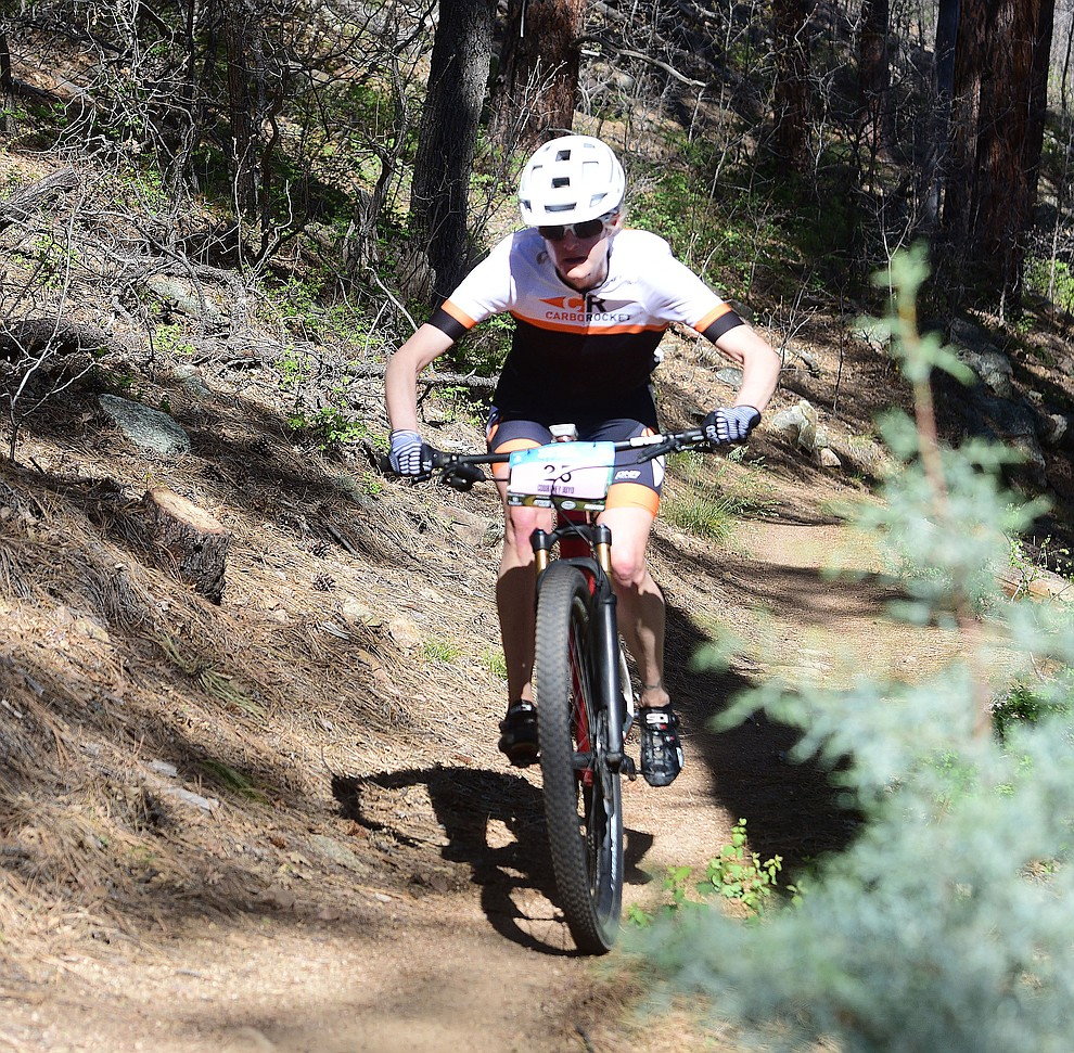 Carbo Rocket's Courtney Boyd during the Whiskey Off Road Pro 50-mile cross country mountain bike race in Prescott Sunday, April 28.  (Les Stukenberg/Courier)