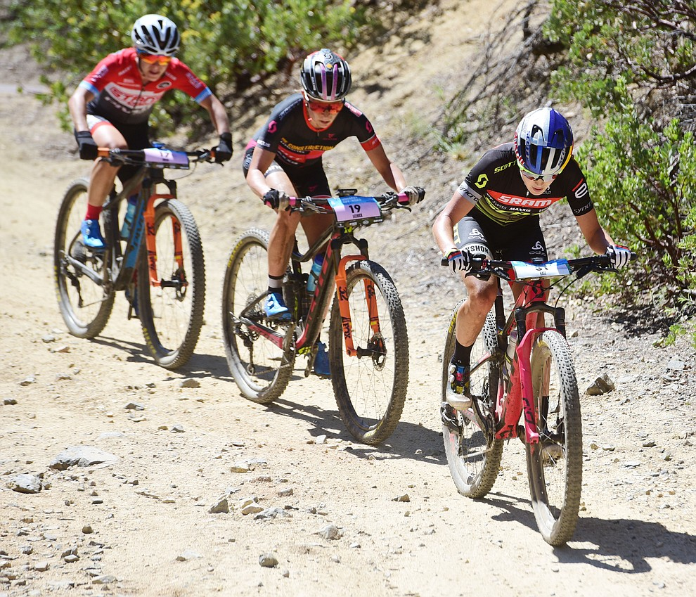 Kate Courtney, Erin Huck and Chloe Woodruff during the Whiskey Off Road Pro 50-mile cross country mountain bike race in Prescott Sunday, April 28.  (Les Stukenberg/Courier)