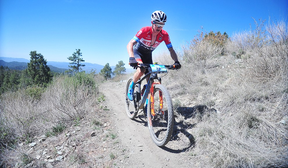 Stans Pivot rider Keegan Swenson during the Whiskey Off Road Pro 50-mile cross country mountain bike race in Prescott Sunday, April 28.  (Les Stukenberg/Courier)