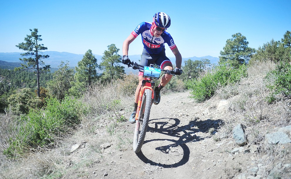 Clif Pro Team rider Russell Finsterwald during the Whiskey Off Road Pro 50-mile cross country mountain bike race in Prescott Sunday, April 28.  (Les Stukenberg/Courier)