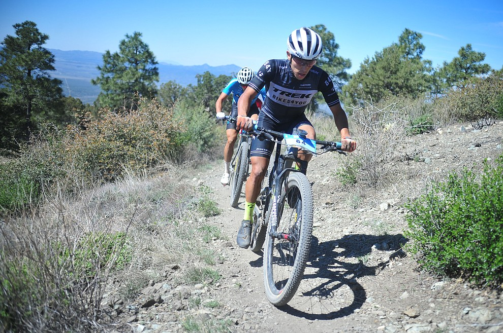 Trek Puerto Rico's Georwil Perez Roman during the Whiskey Off Road Pro 50-mile cross country mountain bike race in Prescott Sunday, April 28.  (Les Stukenberg/Courier)