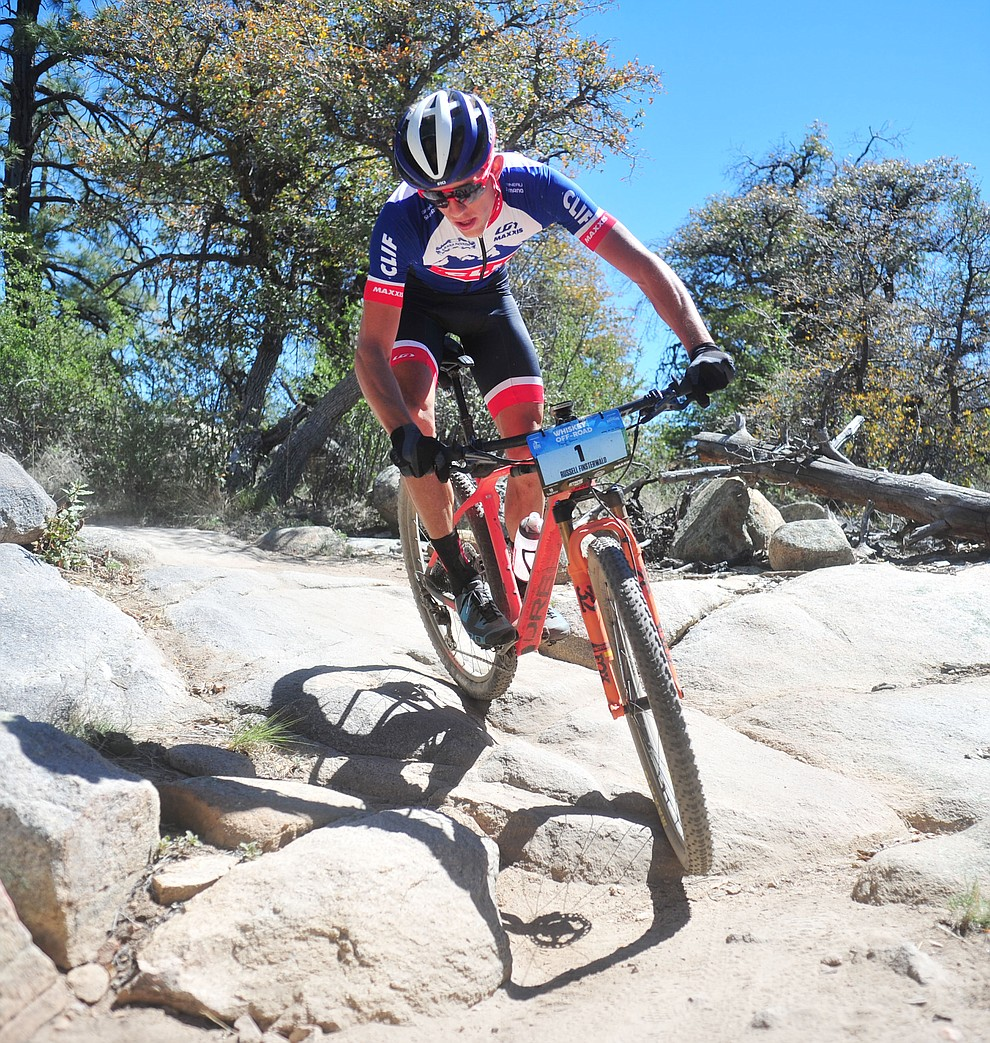 Clif Pro Team's Russell Finsterwald during the Whiskey Off Road Pro 50-mile cross country mountain bike race in Prescott Sunday, April 28.  (Les Stukenberg/Courier)