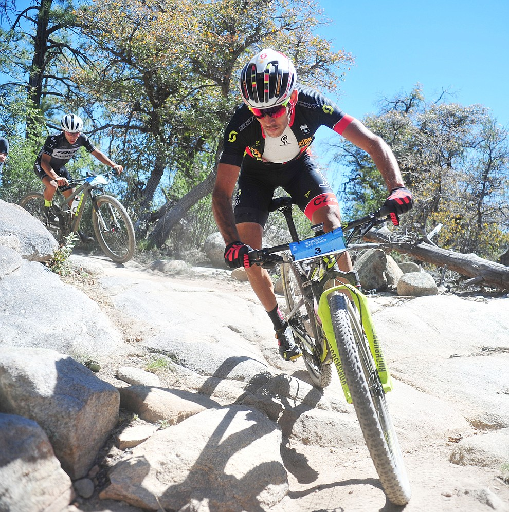 CZ Racing's Fernando Riveros during the Whiskey Off Road Pro 50-mile cross country mountain bike race in Prescott Sunday, April 28.  (Les Stukenberg/Courier)