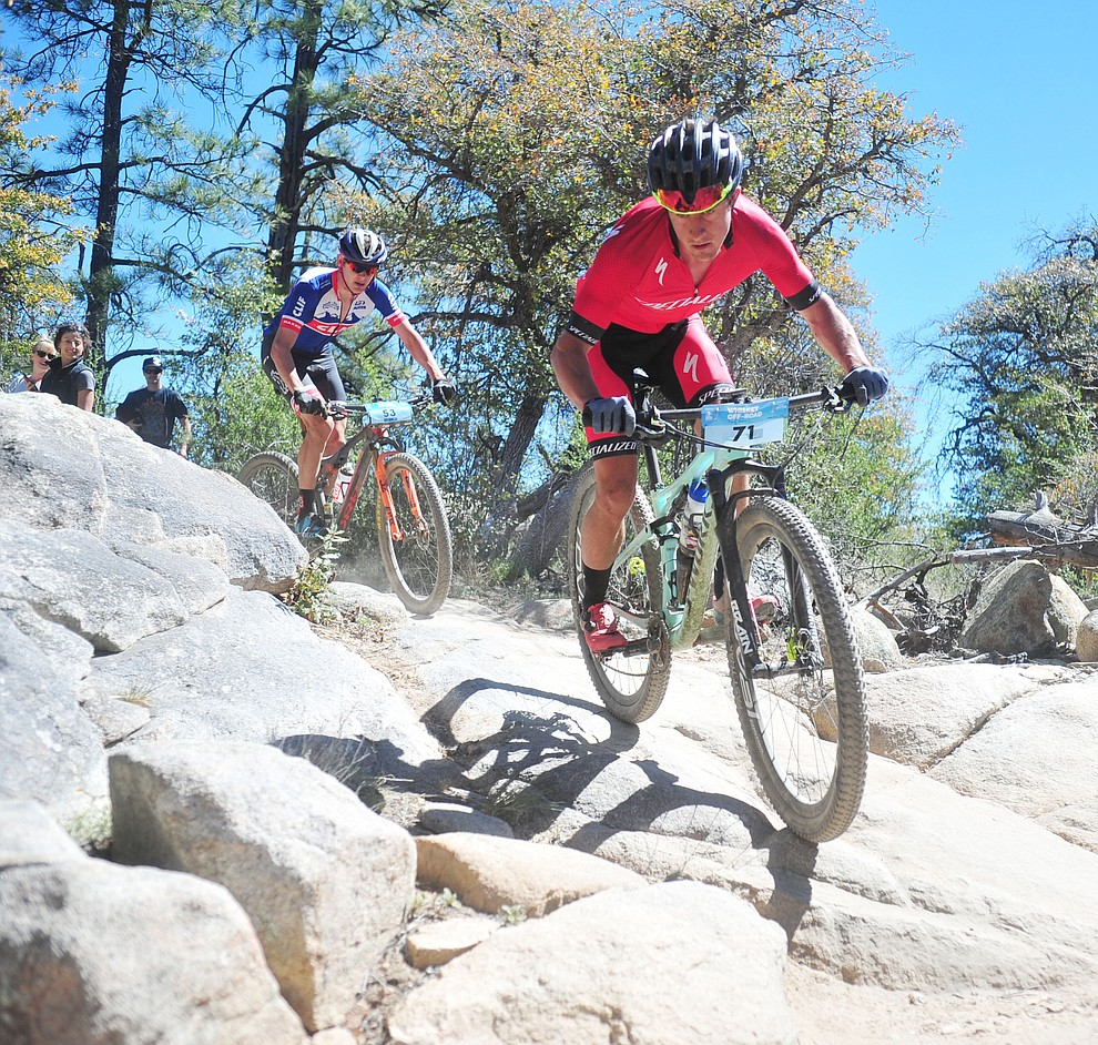 Specialzed's Howard Grotts during the Whiskey Off Road Pro 50-mile cross country mountain bike race in Prescott Sunday, April 28.  (Les Stukenberg/Courier)