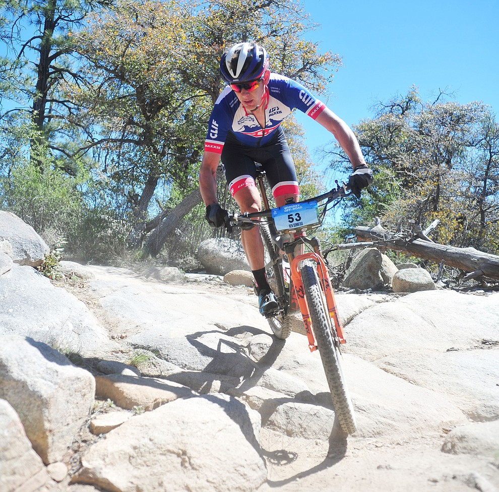 Ben Sonntag during the Whiskey Off Road Pro 50-mile cross country mountain bike race in Prescott Sunday, April 28.  (Les Stukenberg/Courier)