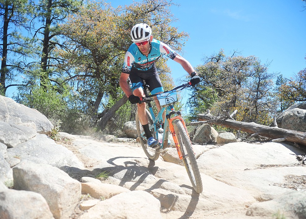 Yeti's Geoff Kabush during the Whiskey Off Road Pro 50-mile cross country mountain bike race in Prescott Sunday, April 28.  (Les Stukenberg/Courier)