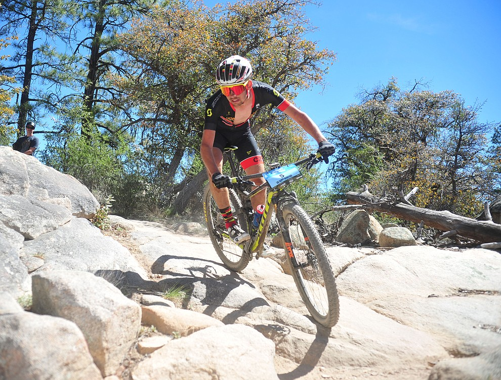 CZ Racing's Cal Skilsky during the Whiskey Off Road Pro 50-mile cross country mountain bike race in Prescott Sunday, April 28.  (Les Stukenberg/Courier)