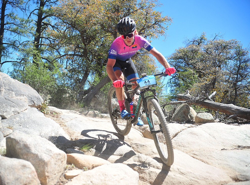 Zach Fernau during the Whiskey Off Road Pro 50-mile cross country mountain bike race in Prescott Sunday, April 28.  (Les Stukenberg/Courier)