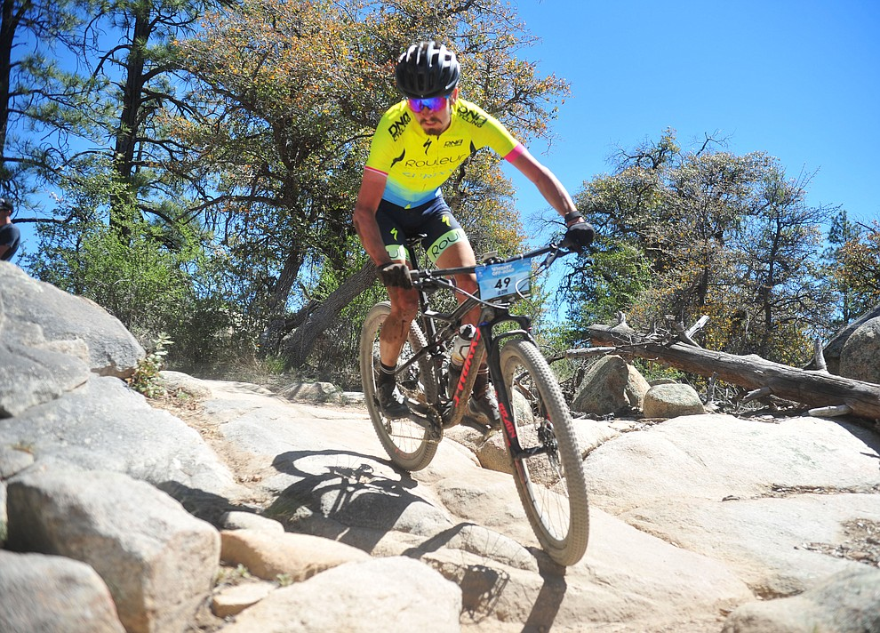 Cypress Gorry during the Whiskey Off Road Pro 50-mile cross country mountain bike race in Prescott Sunday, April 28.  (Les Stukenberg/Courier)