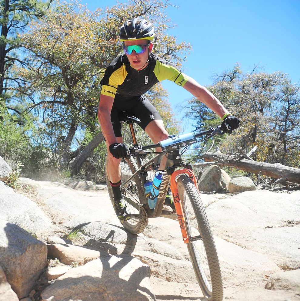 Team Topeak-Ergon's Cooper Wiens during the Whiskey Off Road Pro 50-mile cross country mountain bike race in Prescott Sunday, April 28.  (Les Stukenberg/Courier)