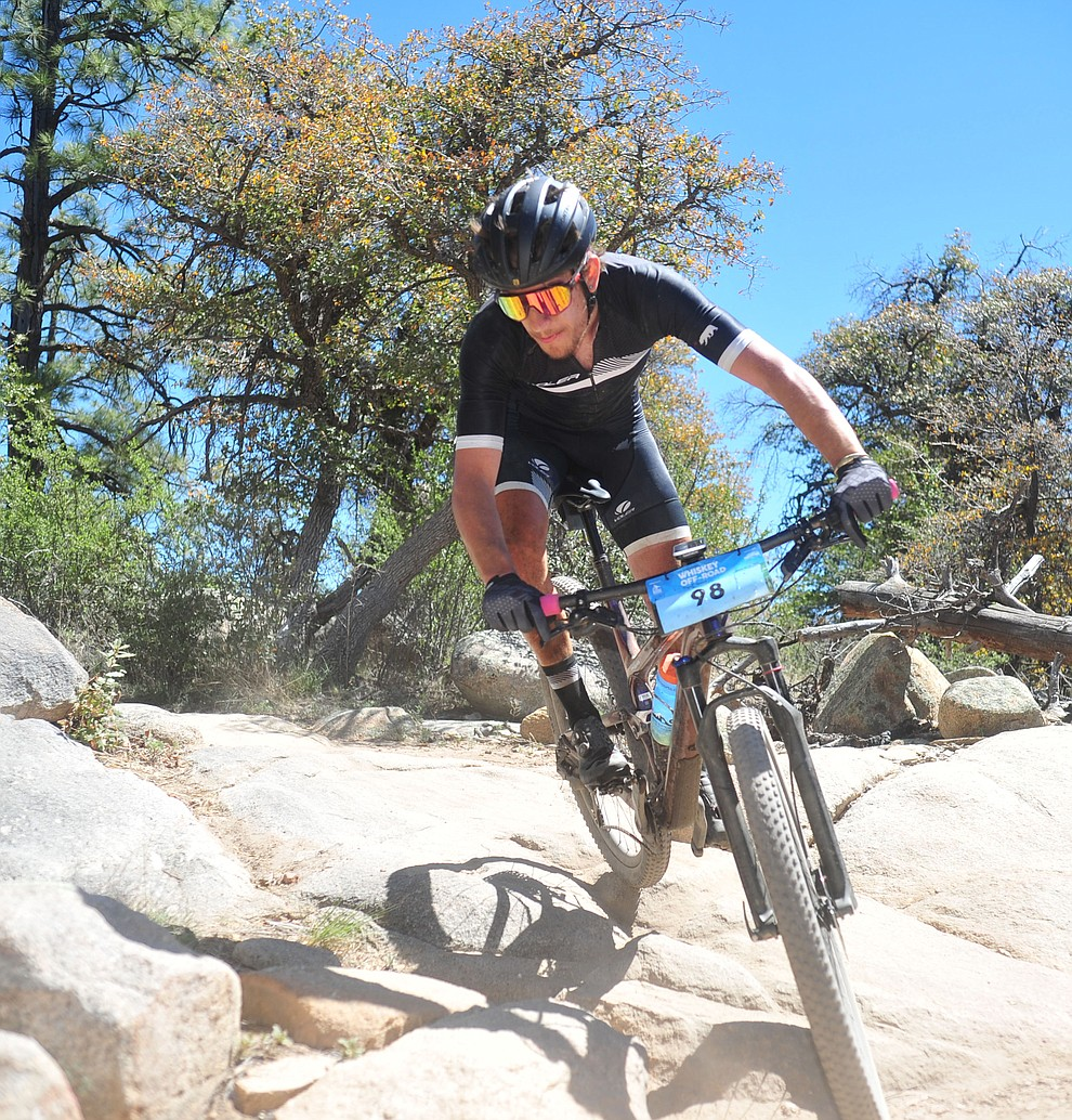 Levi Kurlander during the Whiskey Off Road Pro 50-mile cross country mountain bike race in Prescott Sunday, April 28.  (Les Stukenberg/Courier)