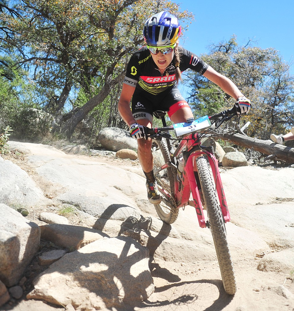 Kate Courtney during the Whiskey Off Road Pro 50-mile cross country mountain bike race in Prescott Sunday, April 28.  (Les Stukenberg/Courier)