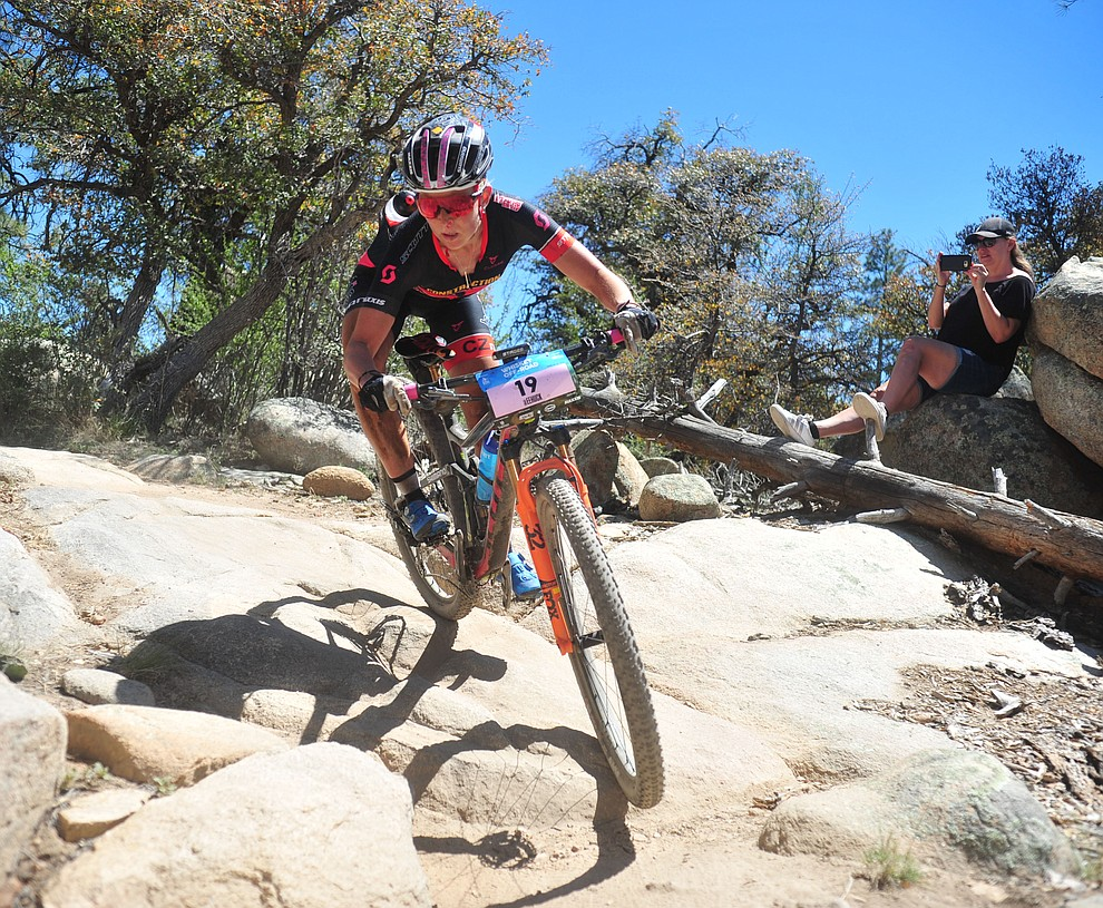 Erin Huck during the Whiskey Off Road Pro 50-mile cross country mountain bike race in Prescott Sunday, April 28.  (Les Stukenberg/Courier)