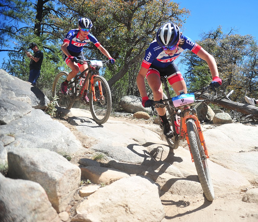 Hailey Batten and Catharine Pendrel during the Whiskey Off Road Pro 50-mile cross country mountain bike race in Prescott Sunday, April 28.  (Les Stukenberg/Courier)