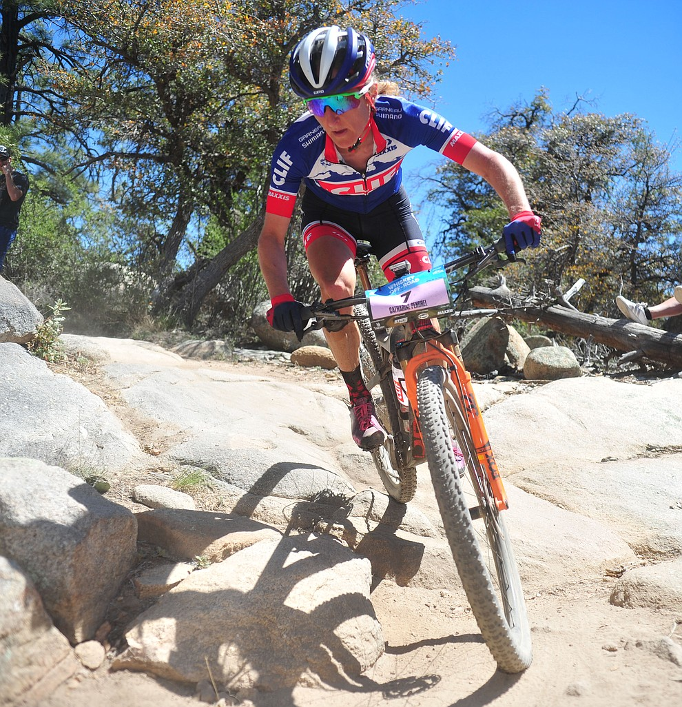 Catharine Pendrel during the Whiskey Off Road Pro 50-mile cross country mountain bike race in Prescott Sunday, April 28.  (Les Stukenberg/Courier)